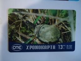 GREECE USED PREPAID CARDS   ANIMALS TURTLES - Tartarughe