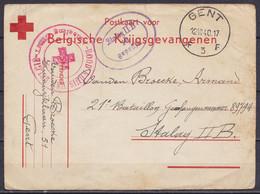 """Postkaart Voor Belgische Krijgsgevangenen - Càd GENT /12.10.1940 Pour Prisonnier Au Stalag II B - Cachet Croix-Rouge """"RO - Covers"""