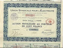 Action N°6 Union Syndicale Pour L'Electricité - 20 Août 1931 - Elektrizität & Gas