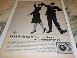 ANCIENNE PUBLICITE TOURNE DISQUES TELEFUNKEN   1962 - Altri
