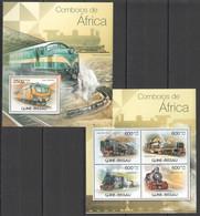 BC466 2012 GUINE GUINEA-BISSAU TRAINS LOCOMOTIVES COMBOIOS DE AFRICA 1KB+1BL MNH - Trains