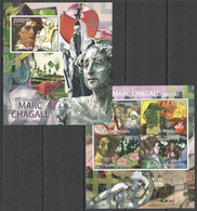 BC473 2012 GUINE GUINEA-BISSAU ART 125TH ANNIVERSARY MARC CHAGALL KB+BL MNH - Other