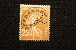 Perfin Semeuse 25c Préoblitéré   N°préo57 Perforé DC16 - Gezähnt (Perforiert/Gezähnt)