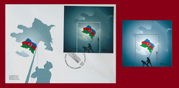 VICTORY IN THE KARABAKH WAR. Azerbaijan Stamps 2020. Azermarka. Flaq. Map MIni Sheet And FDC  First Day Cover - Azerbaïdjan