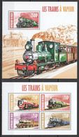 ST2873 2013 NIGER TRAINS LOCOMOTIVES LES TRAINS A VAPEUR KB+BL MNH - Trains