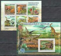 NS96 2009 S.TOME & PRINCIPE FAUNA DINOSAURS & MINERALS 1BL+1KB MNH - Prehistorics