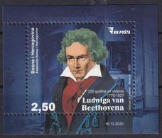 BOSNIA AND HERZEGOVINA  2020,POST SARAJEVO,250 Years Since The Birth Of Ludwig Van Beethoven,Music,Composer,MNH - Musica