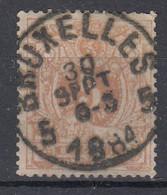 N° 28 OBLITERATION CENTRALE  BRUXELLES 5  (PETITES LETTRES) - 1869-1888 Leone Coricato