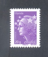 """Marianne De Beaujard  -  V P """"20 Gr Monde"""" Violet   - Adhésif TD 205 - 1 Timbre - Non Classés"""