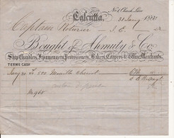 "F180. MARINE FACTURE DU SHIP CHANDLER BOUGHT OF AHMUTY & Co AU ""CAPTAIN ROTURIER"" A CALCUTTA 1860 - Other"