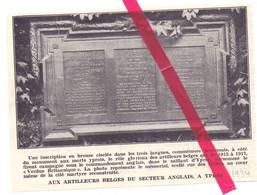 Orig. Knipsel Coupure Tijdschrift Magazine - Ypres Ieper - Monument Aux Artilleurs Belges - 1934 - Sin Clasificación