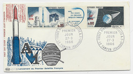 CFA BANDE SATELLITE LE TAMPON 27.3.1966 LETTRE 1ER JOUR FDC - Storia Postale