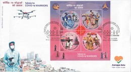 INDIA 2020 Salute To COVID-19 WARRIORS, PANDEMIC, Disease,Health, MS Miniature Sheet FDC First Day JABALPUR Cancelled) - FDC