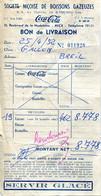 Bon De Livraison De La Société Niçoise De Boissons Gazeuses, Fabricant De Coca Cola, Du 25 Avril 1952 - Invoices