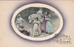 Illustrateur - Non Signé : à Identifier : Enfants, Femme, Cheval Et Chien : Bonne Année : Type Viennoiserie : Colorisée - 1900-1949