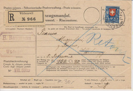 Schweiz, 6.2.1923, PJ 24,  Einzugsmandat Von Wädenswil Nach Heerburg, Retour, Siehe Scans! - Cartas