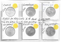 Lot De 6 Pièces Monnaies 10 € Euros Des Regions 2011 Corse - Guadeloupe - Martinique - Guyane - Reunion Et Mayotte - Francia