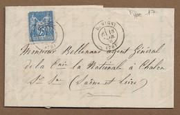DEMIGNY : 1878 : Cachet à Date  Type 17 Sur Sage 25c Bleu   ( Saône Et Loire ) : - 1877-1920: Periodo Semi Moderno
