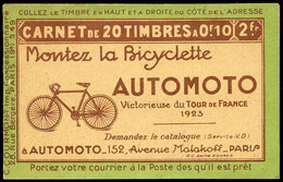 France Carnets N° 170 C1  10c Pasteur (s.49)** - Usados Corriente