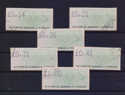 CYPRUS 2003 FRAMA VENDING MACHINE LABELS POSTHORN COMPLETE SET USED STAMPS - Usados