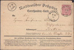Germany - North German Confederation. NDP Correspondenz-Karte, GRAMENZ 6.11.1870 - Stettin. - North German Conf.