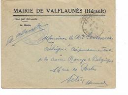 SH 0778. Lettre Franchise De La Mairie De VALFLAUNES (Hérault) 6.8.40 Vers Croix-Rougee De Belgique à SETE - Lettres