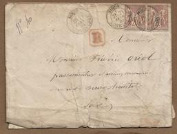 DIGOIN  : 1880 : Lettre Recommandée Avec  CàD Type 19 Sur Paire 20c Sage Brun  ( Saône Et Loire ) : - 1877-1920: Periodo Semi Moderno