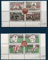 MON 1963  Centenaire Du Football  N°YT 624-631  ** MNH 2 Blocs De 4 Coin Daté - Nuevos