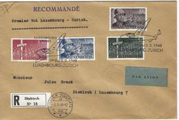 Luxembourg 1948 Vol Postal Zurich ¦ Postal Flight ¦ Flugpost - Briefe U. Dokumente