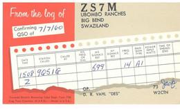 CARTE QSL CARD 1960 RADIOAMATEUR HAM RADIO ZS-7  SWAZILAND UBOMBO RANCHES BIG BEND VIA QSL MANAGER AMITYVILLE NEW YORK - Swaziland