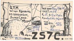 CARTE QSL CARD 1958 RADIOAMATEUR HAM RADIO ZS-7  SWAZILAND GOEDGEGUN POSTAL MARK SWAZI COURTING COUPLE TO BELGIAN CONGO - Swaziland