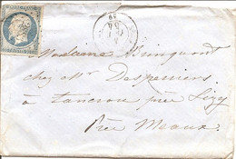 MARNE (49) ENV De SERMAIZE-S-SAULX PC 2883 Sur NAP Pour TANCROU - 1849-1876: Classic Period