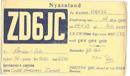 CARTE QSL CARD 1959 RADIOAMATEUR HAM RADIO ZD-6  NYASALAND MALAWI COBBE BARRACKS ZOMBA BRITISH COLONIES COLONIES - Malawi