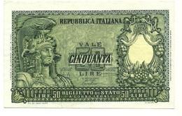 Italia - 50 Lire 1951 - Italia Elmata - Bolaffi - 50 Liras