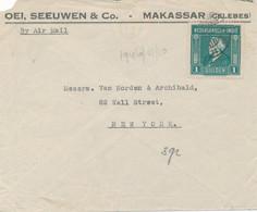 Nederlands Indië - 1946 - 1 Gulden Wilhelmina Enkelfrankering Op Business-LP-cover Van Makassar Naar New York / USA - Netherlands Indies