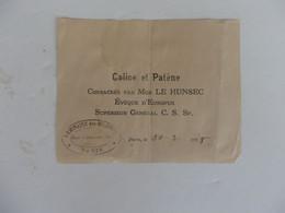 Papier Sur Calice Et Patène Consacrés Par Mgr LE HUNSEC Evêque D'Europus Séminaire Des Colonies à Paris. - Non Classés