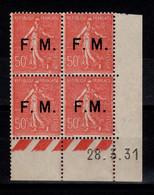 Coin Daté - YV FM 6 N** Avec Variete 6c (M Rapproché) Coin Daté Du 28.3.31 , Franchise Militaire Cote 100 Euros - 1930-1939