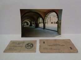 1 Postal Plaza De Amer 1970 Y 2 Billetes Municipales De Amer. 50 Centims Y 1 Pesseta. . Guerra Civil De España. - Otros