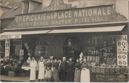"""PARIS 75013 -- Rare Carte Photo Du 79 Rue Clisson ,Devanture De L """"EPICERIE  De La PLACE NATIONALE - GASTON PIGAL Succ """" - Paris (13)"""