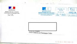 Lettre Flamme Ema  Chalons  Prefecture De Marne - EMA (Printer Machine)