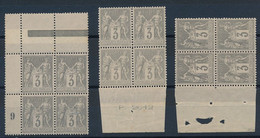 DX-258: FRANCE: Lot Avec N°87** 3 Blocs De 4 - 1876-1898 Sage (Type II)