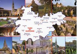 CPM Géographique - 82 En Parcourant Le TARN Et GARONNE, Valence D'Agen, Lauzerte, Montauban, Multi Vues - TBE - Maps