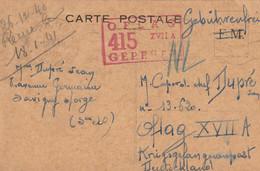 WW2 POW Carte Postale FM Réutilisée Pour PG De Paris Gare Austerlitz Pour  OFLAG XVII A. Censure Gepruft . Censor - Guerre De 1939-45