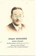 GUERRE 39/45-  Albert  MANARD , Instituteur à Quarouble,Resp. Rég. Du F.N. ,+ Le 22/2/1945 à Hersbrûck ( Allemagne) - Obituary Notices