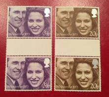 GB Mi. 637 - 638, SG  941 - 942 Hochzeit Von Prinzessin Anne 1973 Gutter Pair ** - Unclassified