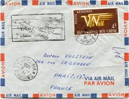 """VIET-NAM LETTRE PAR AVION AVEC CACHET ILLUSTRE """"PREMIER VOYAGE SAIGON - PARIS"""" DEPART SAIGON 1-4-1955 VIET-NAM.......... - Vietnam"""