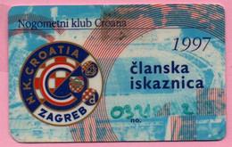 Membership Card Soccer Club Croatia (Nogometni Klub Croatia), 1997., Croatia - Otros