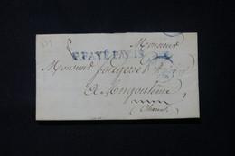FRANCE - Marque Postale En Bleu De Paris En PP Sur Lettre Pour Angoulème - L 84656 - 1801-1848: Précurseurs XIX