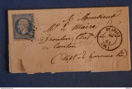 H12 FRANCE BELLE LETTRE 1864 ETAPLES . DEPARTEMENT HAUTE GARONNE+ AFFRANCHISSEMENT 1437 - 1862 Napoleon III