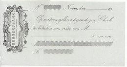 CHECK CHEQUE BELGIUM BURGERS BANK AG. NINOVE 1910'S - Cheques & Traverler's Cheques